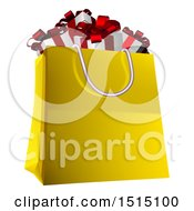 Clipart Of A Shopping Bag Full Of Christmas Gifts Royalty Free Vector Illustration by AtStockIllustration