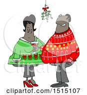 Cartoon Black Couple Under Mistletoe At A Christmas Party