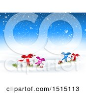 Clipart Of A Snowy Christmas Background With Presents And Baubles Royalty Free Vector Illustration