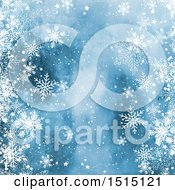 Blue Watercolor Background With Winter Snowflakes