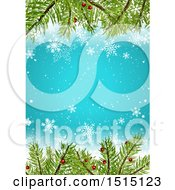 Christmas Background With Winter Snowflakes And Tree Branches