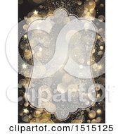 Partially Transparent Christmas Frame With Gold Stars And Flares On Black