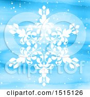White Snowflake On A Blue Watercolor Background