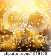 Clipart Of A Merry Christmas And A Happy New Year Greeting Over Gold Flares Royalty Free Vector Illustration