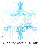 Blue Watercolor Snowflake On White