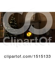 Clipart Of A 3d Christmas Tree Next To A Hearth With A Burning Fire Royalty Free Illustration by KJ Pargeter