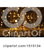 Clipart Of A 3d Wooden Surface With Golden Flares Royalty Free Illustration