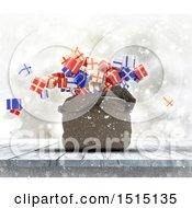 Clipart Of A 3d Sack With Gifts Falling Out On A Wood Surface Royalty Free Illustration