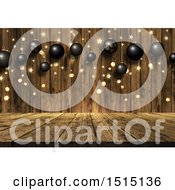 Clipart Of A 3d Wooden Surface With Golden Flares Stars And Suspended Black Baubles Royalty Free Illustration by KJ Pargeter