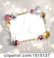Clipart Of A 3d Christmas Bauble Frame Over Stars Snow And Flares Royalty Free Vector Illustration