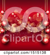 Clipart Of A Red Christmas Background With Suspended Red Baubles Over Stars And Bokeh Royalty Free Vector Illustration