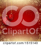 December 14th, 2017: Clipart Of A Red Christmas Background With Suspended Glitter Baubles On Red With Snowflakes And Glitter Royalty Free Vector Illustration by KJ Pargeter