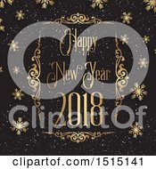 Clipart Of A Happy New Year 2018 Greeting In A Gold Frame With Snow And Snowflakes On Black Royalty Free Vector Illustration