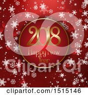 Clipart Of A Happy New Year 2018 Greeting In A Frame Over Red Flares And Snowflakes Royalty Free Vector Illustration