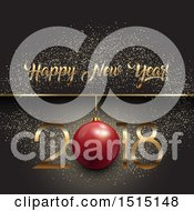 Clipart Of A Happy New Year 2018 Greeting With A Bauble Over Gray With Glitter Royalty Free Vector Illustration