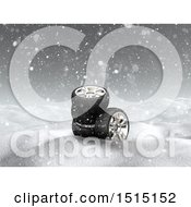 3d Snowy Winter Landscape With Tires