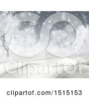 Clipart Of A 3d Snowy Winter Landscape Royalty Free Illustration