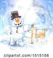 Watercolor Snowman Leaning On A Wood Sign In A Winter Landscape