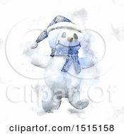 Happy Watercolor Snowman Walking