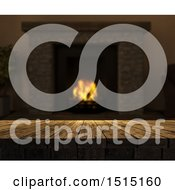 Clipart Of A 3d Tablet Op With A Blurred Hearth With A Burning Fire Royalty Free Illustration by KJ Pargeter