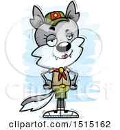 Clipart Of A Confident Female Wolf Scout Royalty Free Vector Illustration
