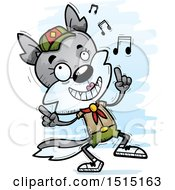Clipart Of A Happy Dancing Female Wolf Scout Royalty Free Vector Illustration