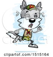 Clipart Of A Tired Running Female Wolf Scout Royalty Free Vector Illustration