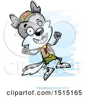 Clipart Of A Jumping Female Wolf Scout Royalty Free Vector Illustration