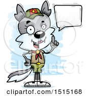 Clipart Of A Talking Female Wolf Scout Royalty Free Vector Illustration