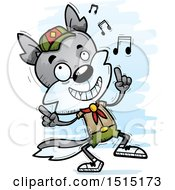 Clipart Of A Happy Dancing Male Wolf Scout Royalty Free Vector Illustration by Cory Thoman