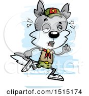 Clipart Of A Tired Running Male Wolf Scout Royalty Free Vector Illustration by Cory Thoman