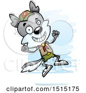 Clipart Of A Jumping Male Wolf Scout Royalty Free Vector Illustration by Cory Thoman