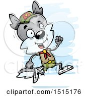 Clipart Of A Running Male Wolf Scout Royalty Free Vector Illustration