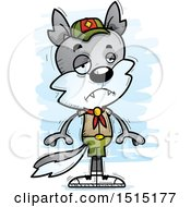 Clipart Of A Sad Male Wolf Scout Royalty Free Vector Illustration by Cory Thoman