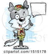 Clipart Of A Talking Male Wolf Scout Royalty Free Vector Illustration
