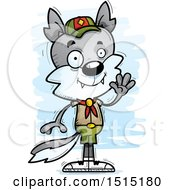 Clipart Of A Waving Male Wolf Scout Royalty Free Vector Illustration by Cory Thoman