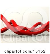 Wavy Red Pipes Tangled Over A White Background And Reflective Surface Clipart Graphic Illustration
