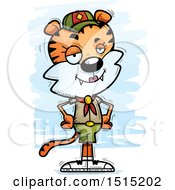 Clipart Of A Confident Female Tiger Scout Royalty Free Vector Illustration
