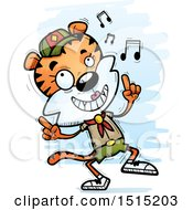 Clipart Of A Happy Dancing Female Tiger Scout Royalty Free Vector Illustration