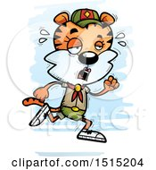 Clipart Of A Tired Running Female Tiger Scout Royalty Free Vector Illustration