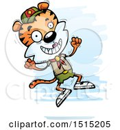 Clipart Of A Jumping Female Tiger Scout Royalty Free Vector Illustration