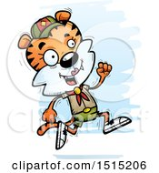 Clipart Of A Running Female Tiger Scout Royalty Free Vector Illustration