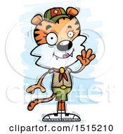 Clipart Of A Waving Female Tiger Scout Royalty Free Vector Illustration