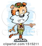 Clipart Of A Mad Pointing Male Tiger Scout Royalty Free Vector Illustration