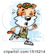 Clipart Of A Tired Running Male Tiger Scout Royalty Free Vector Illustration