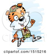Clipart Of A Running Male Tiger Scout Royalty Free Vector Illustration
