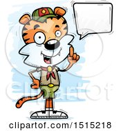 Clipart Of A Talking Male Tiger Scout Royalty Free Vector Illustration