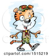Clipart Of A Walking Male Tiger Scout Royalty Free Vector Illustration