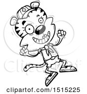 Clipart Of A Black And White Jumping Female Tiger Scout Royalty Free Vector Illustration