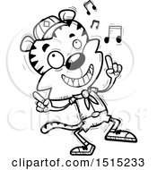 Clipart Of A Black And White Happy Dancing Male Tiger Scout Royalty Free Vector Illustration